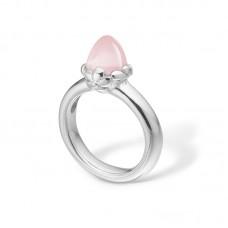 Blossom Ring silver rhod smal rosenkvarts strl 55