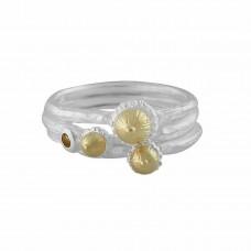 Lotta ring 3-set silver/förg champagne safir- strl M