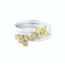 Lotta ring 3-set silver/14k guld m vit safir - strl S