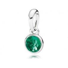 PANDORA Birthstone May Silver pendant with royal green crystal