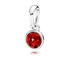 PANDORA Birthstone July Silver pendant with synthetic ruby