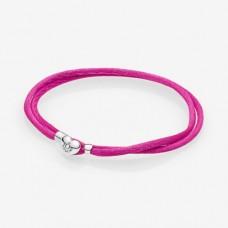 PANDORA Silver double fabric cord bracelet, pink