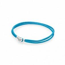 PANDORA Silver double fabric cord bracelet, turquoise