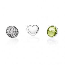 PANDORA Petite Elements August Silver, heart, pave droplet/clear cz, peridot droplet