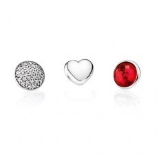 PANDORA Petite Elements July Silver, heart, pave droplet/clear CZ, synthetic ruby droplet